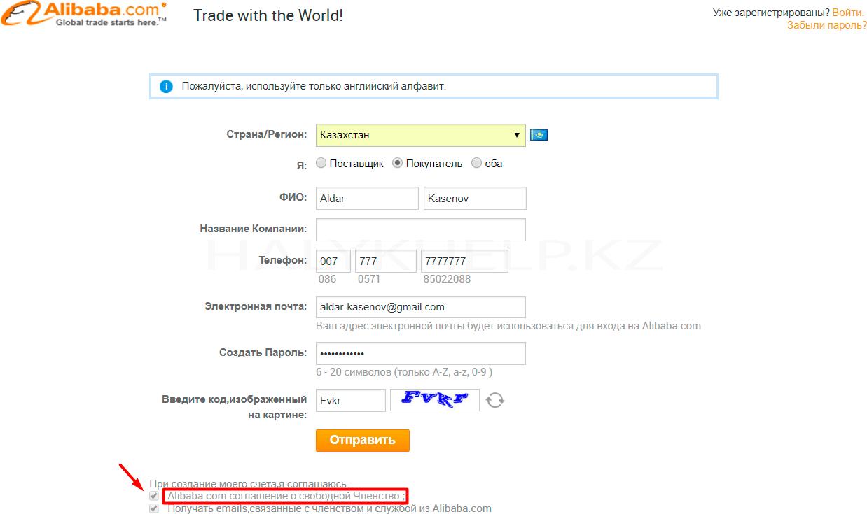 Регистрационные данные при регистрации на Алибабе картинка